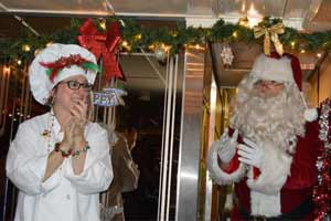 chef with Santa on train