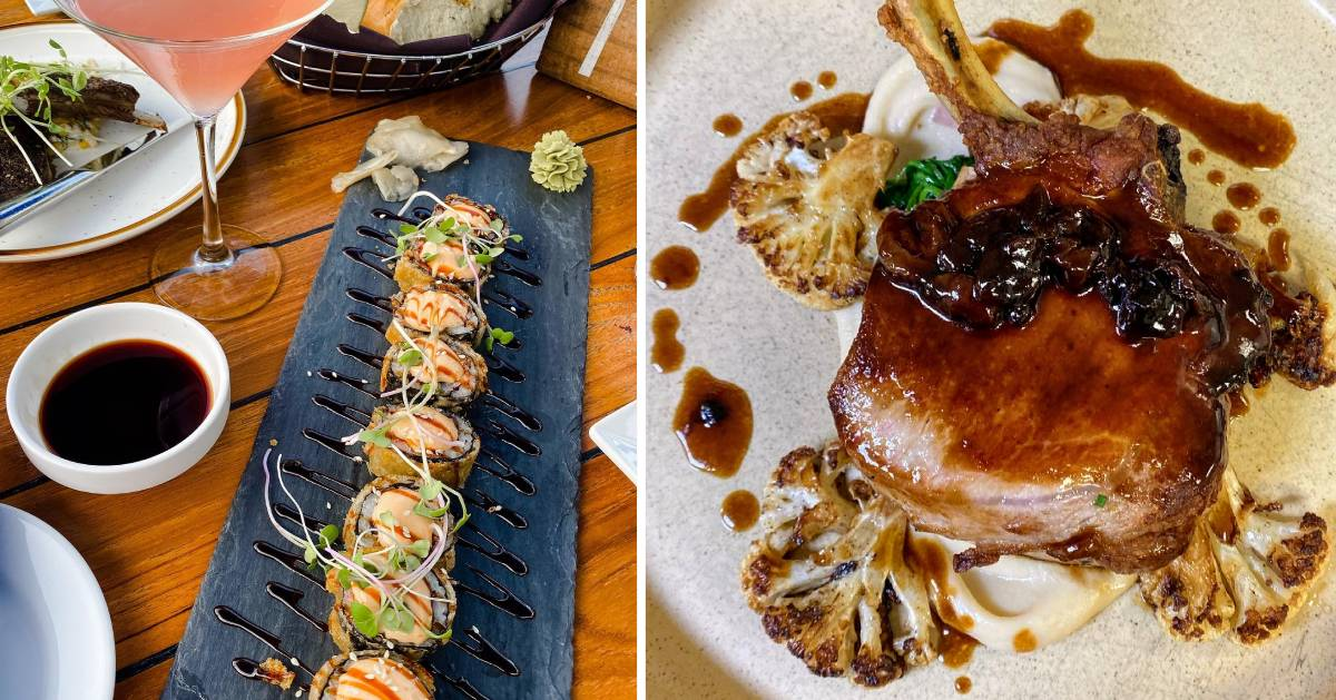 split image with sushi rolls on the left and pork on the right