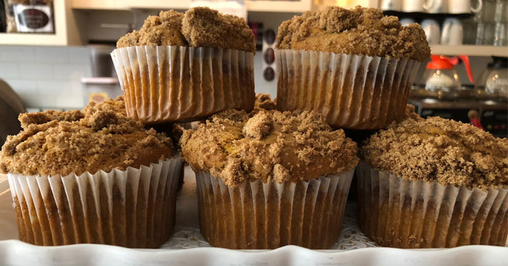 close up of pumpkin muffins on display at a bakery