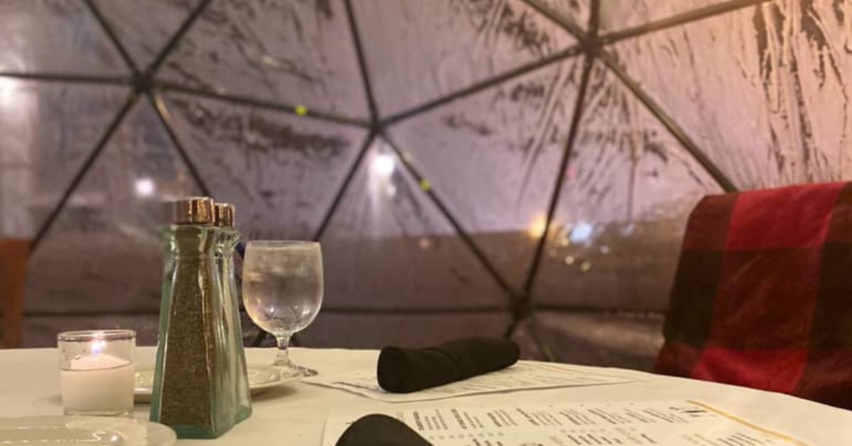 inside of a dining igloo
