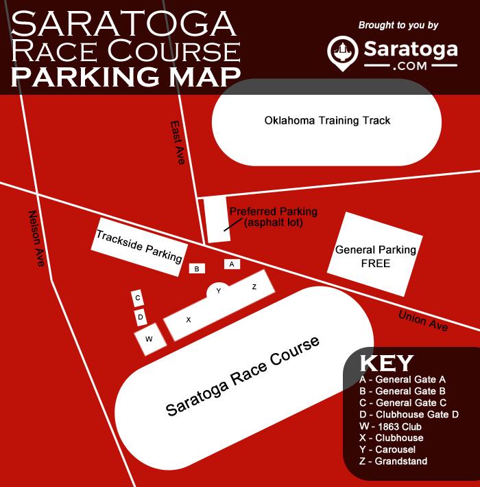 map of saratoga race course parking lots with text description below