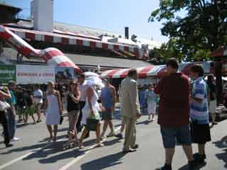 Visitors in front of the Grandstand at the Saratoga Racetrack