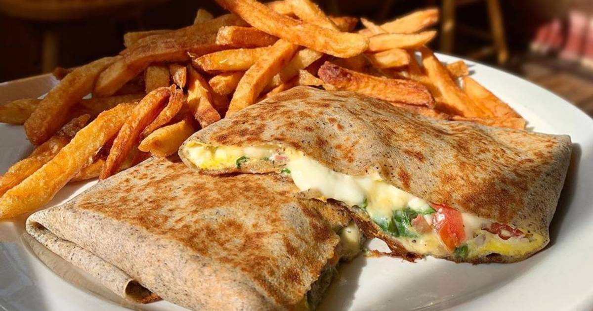 crepes on plate with fries