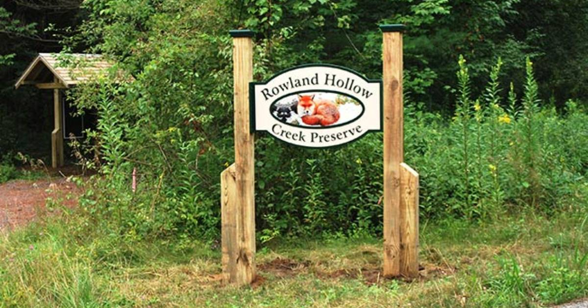 entrance sign for rowland hollow creek preserve