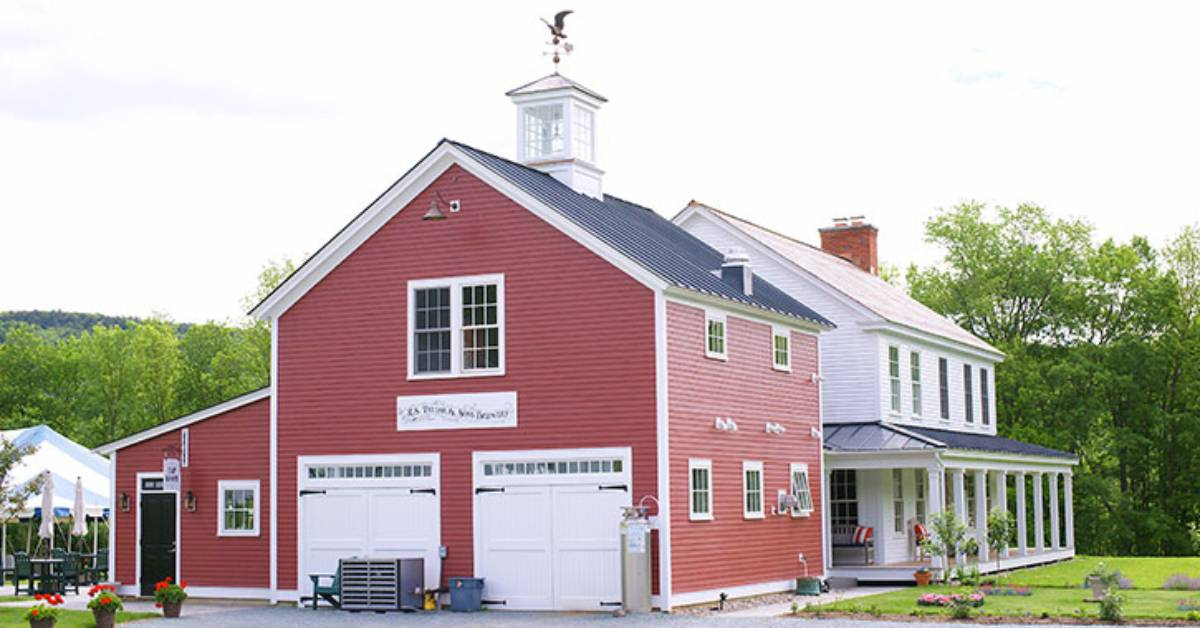 a red barn building for a brewery