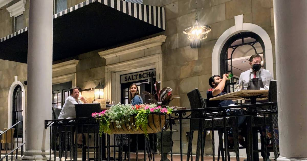 people dining on a patio