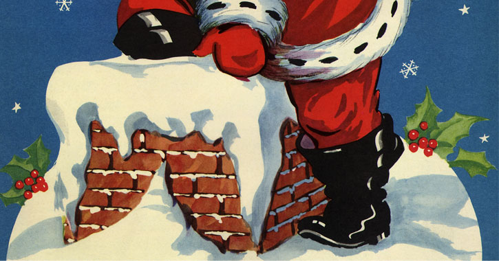 cartoon image of the bottom half of Santa getting into the chimney