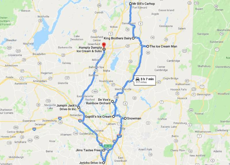 google map of ice cream trail