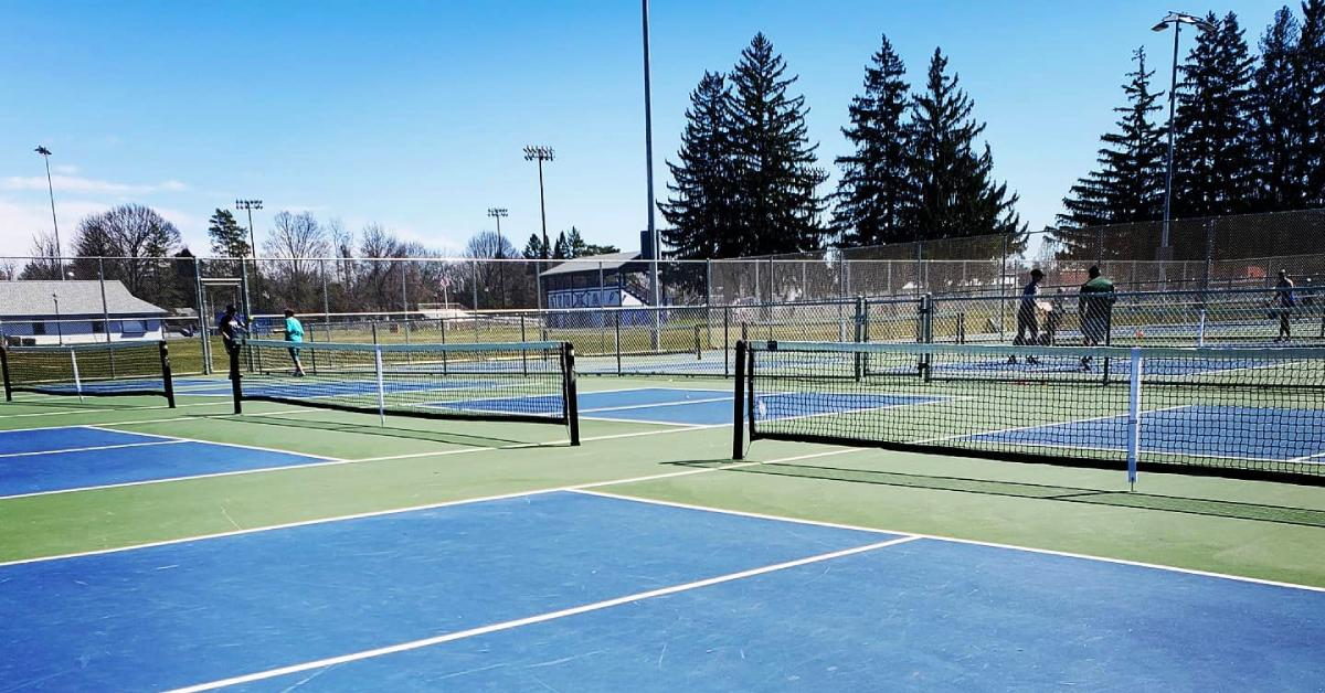 blue pickleball courts
