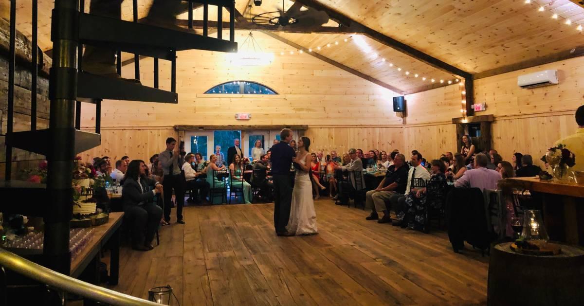 indoor rustic wedding dance