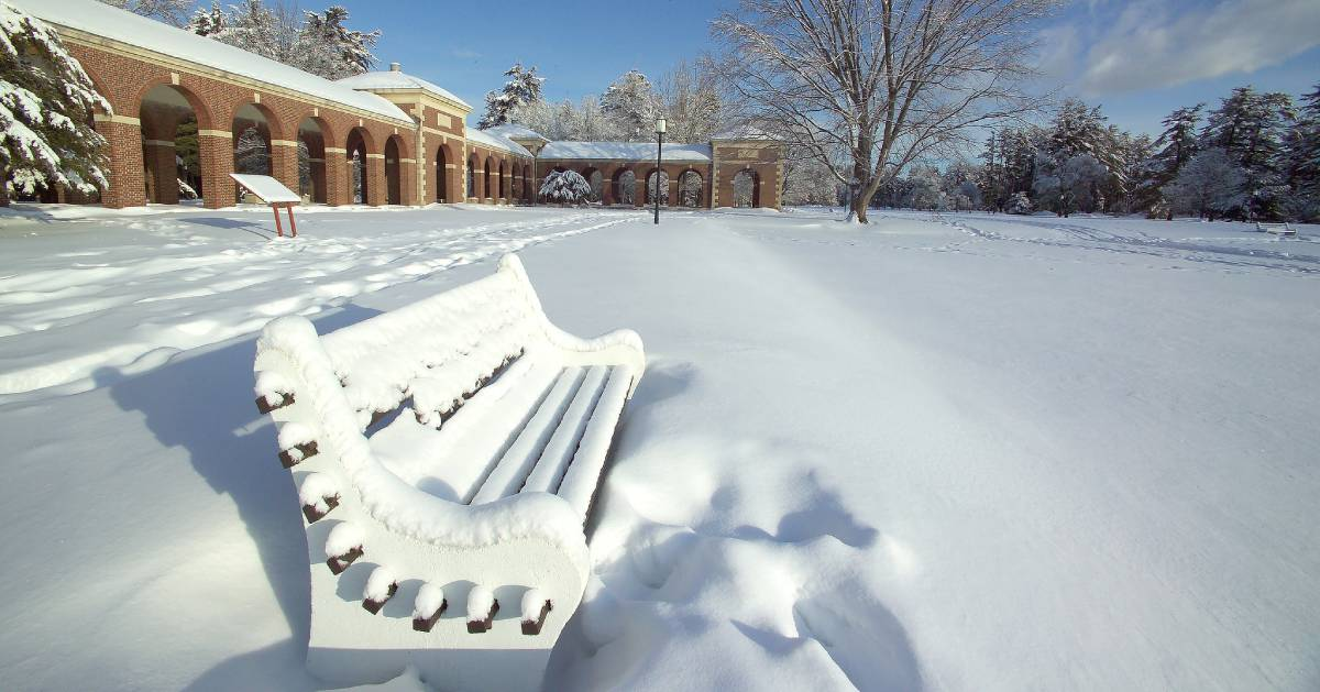 a snow covered bench in a park