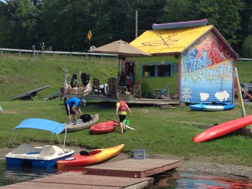 a kayak building on the lake