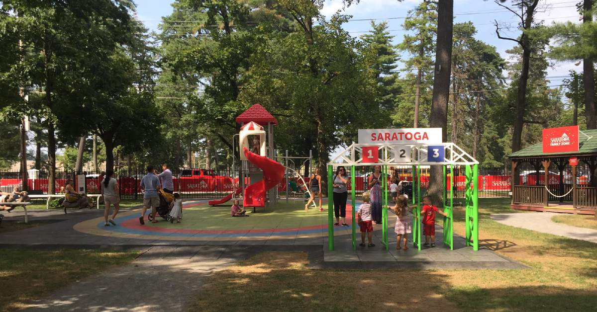 kids playing in the family zone playground