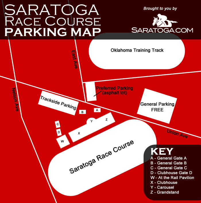 Saratoga Race Course Parking Map