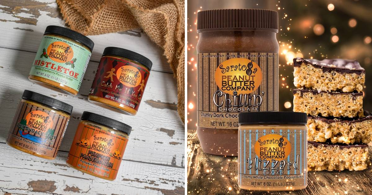 split image with two promotional photos of Saratoga Peanut Butter products