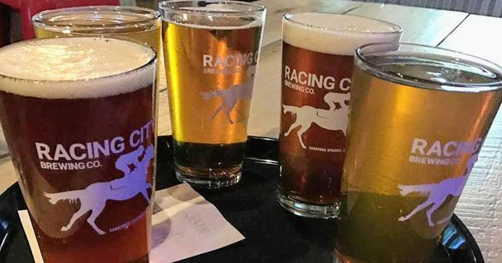 glasses of beer in Racing City glasses