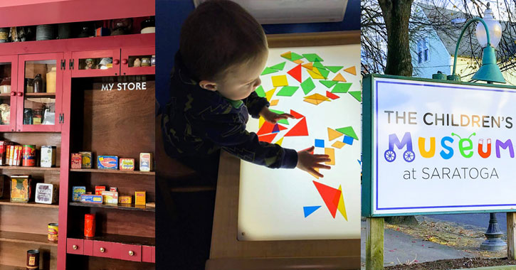 image split in three with part of kids museum on left, kid playing with triangles in the middle, and outside sign on the right saying The Children's Museum at Saratoga