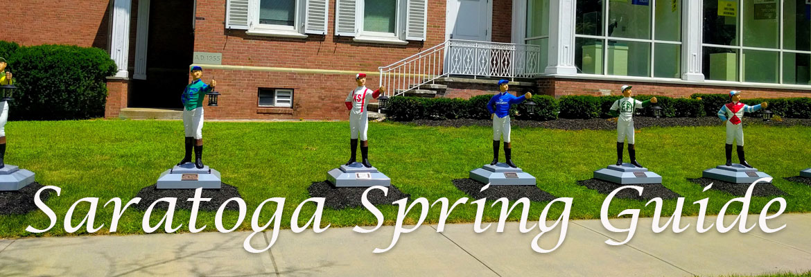 row of jockey statues with text Saratoga Spring Guide