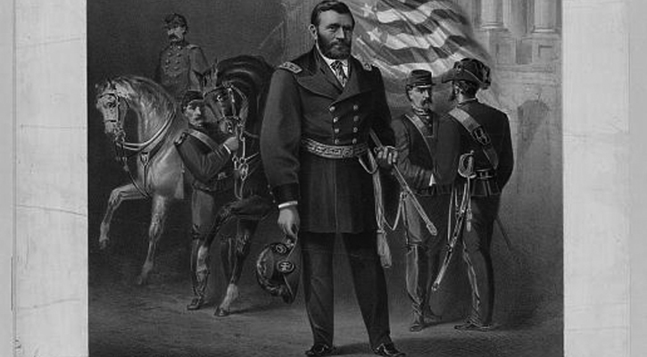 an old fashioned picture of Ulysses S. Grant with other generals, a horse, and the American flag behind him