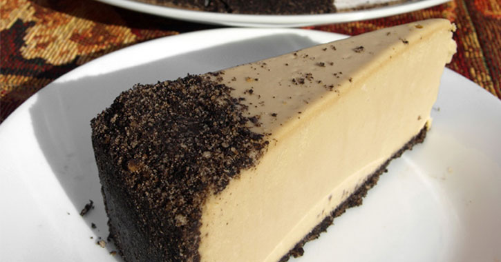 a slice of Kahlua cheesecake