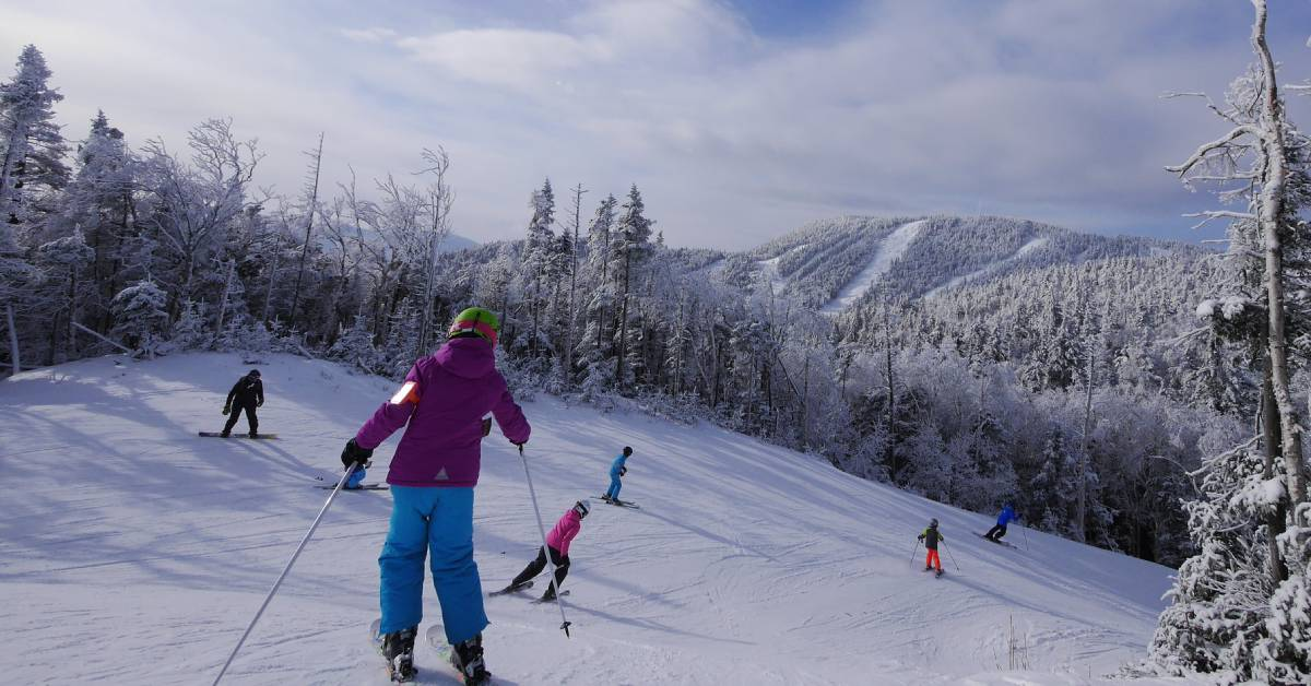 group of people skiing down a mountain