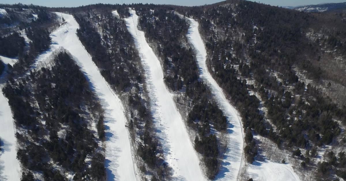 snowy trails down a ski mountain