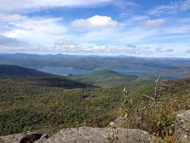 view of lake george from summit of sleeping beauty