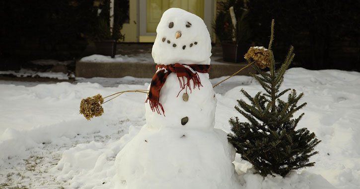 a snowman in front of a house