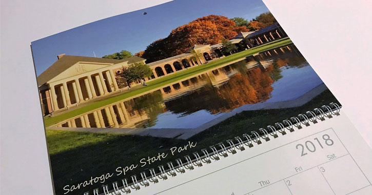 picture of 2018 calendar with Saratoga Spa State Park in the fall