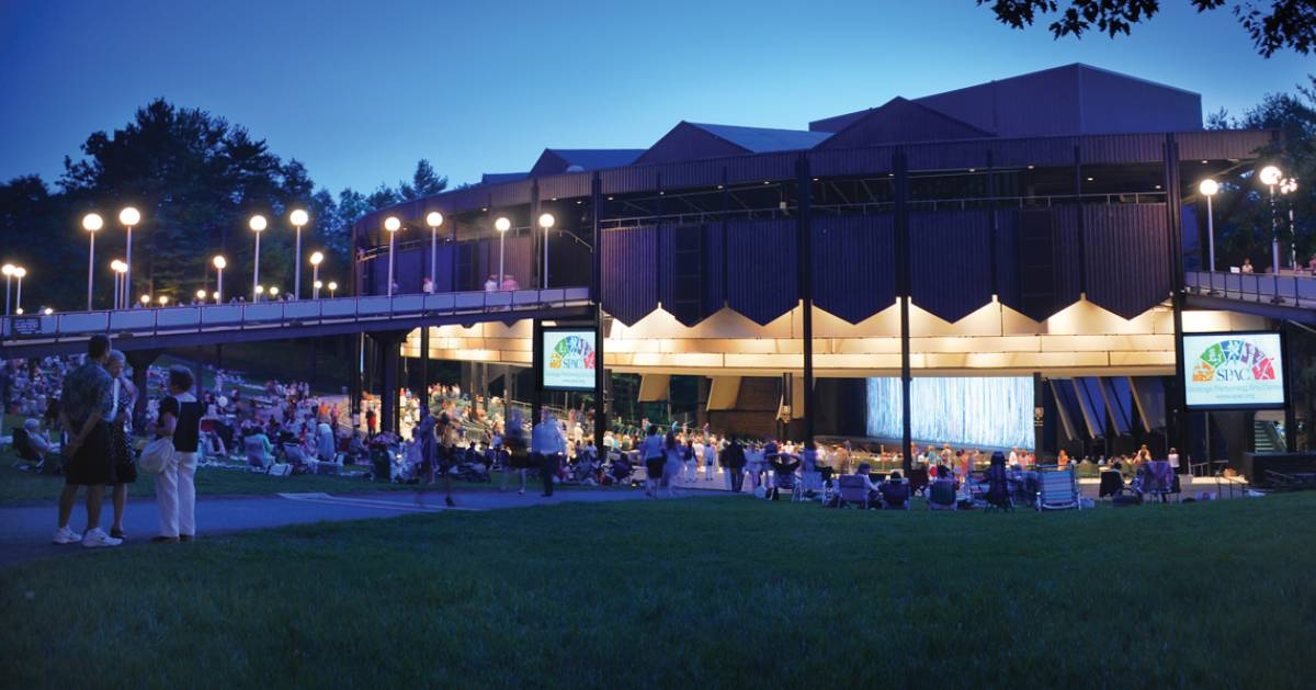 a performing arts venue at night