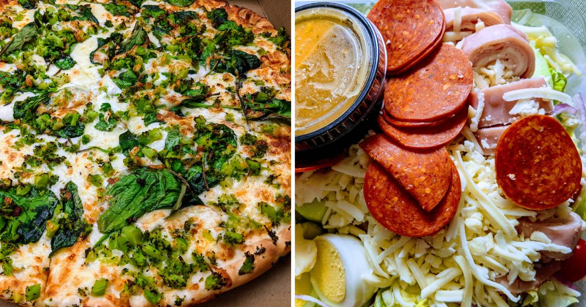 split image with spinach and broccoli pizza on the left and a salad with meat on the right