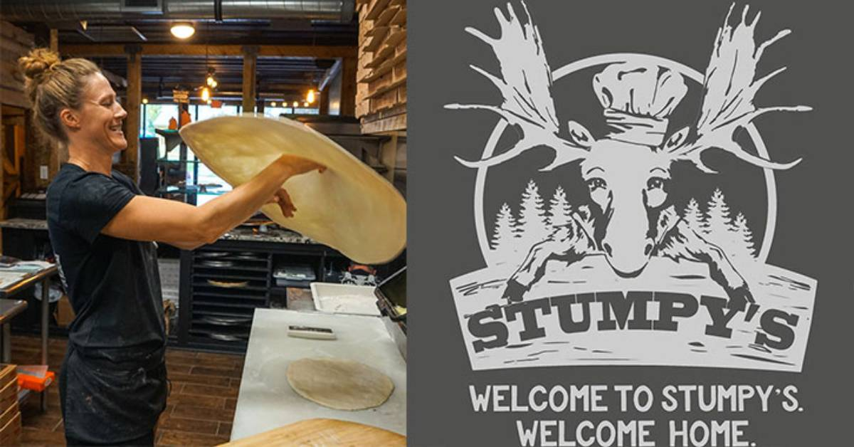 left photo of woman making pizza and right photo of stumpys pizza logo