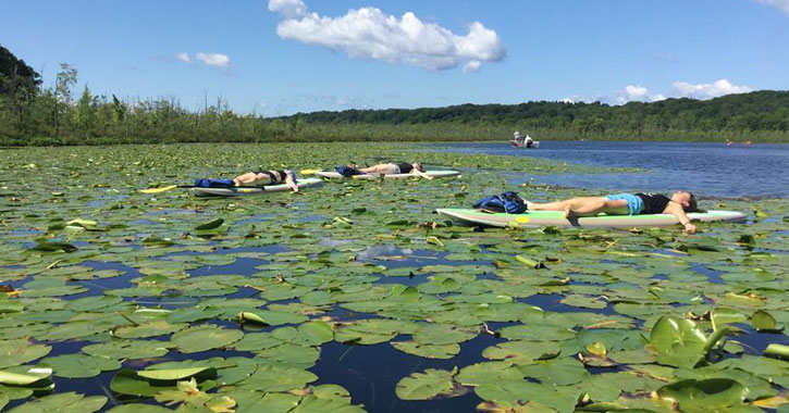 women doing yoga on paddle boards