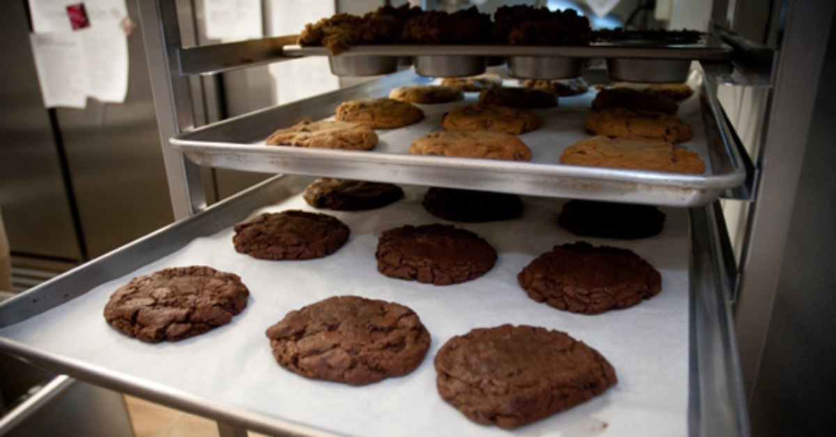 cookies on pans at sweet mimi's