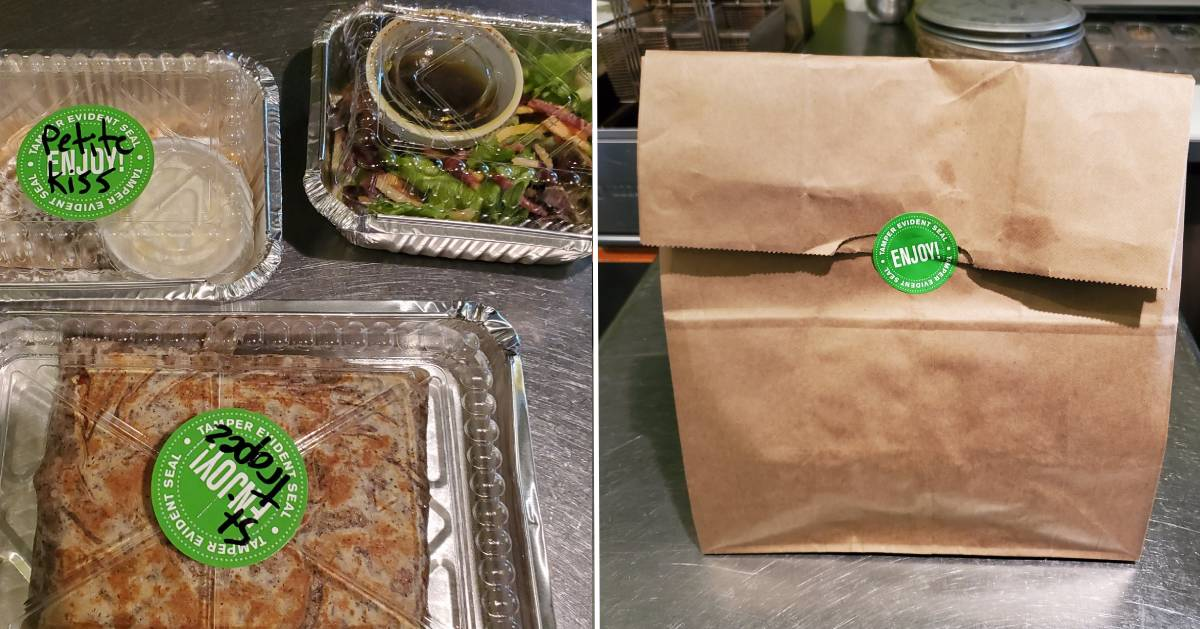 split image with takeout on the left and paper bag on the right