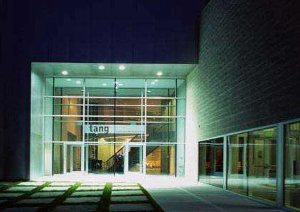 outside, nighttime shot of the front of the art gallery