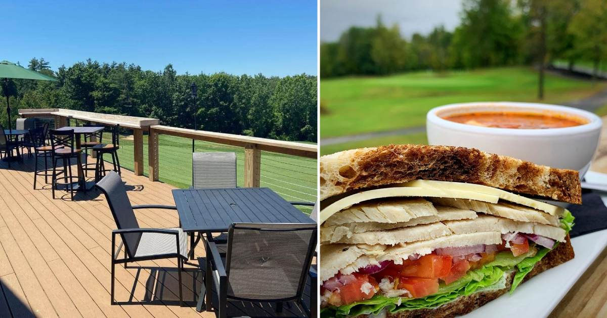 photo of tables on a patio deck and photo of sandwich and soup