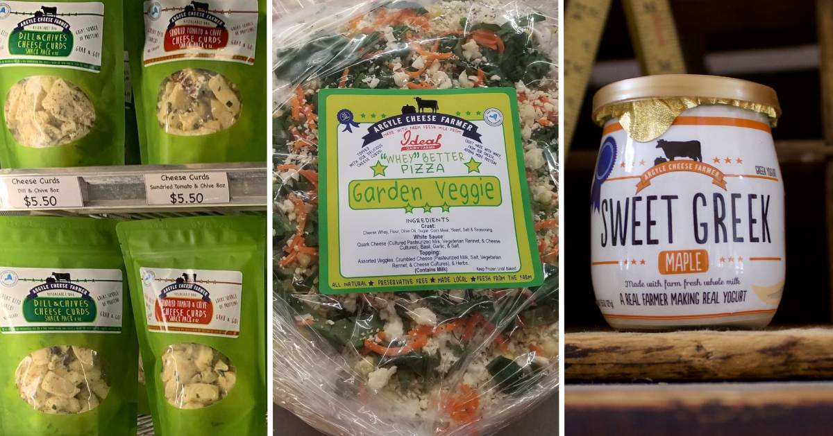 split image of three different kinds of Argyle Cheese Farmer products