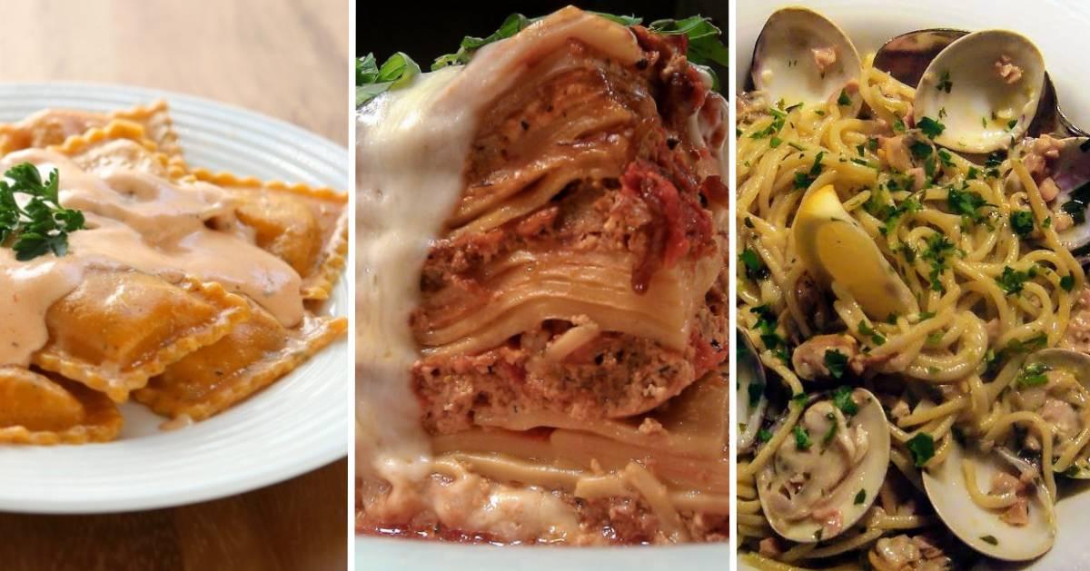 split image of three different pasta dishes