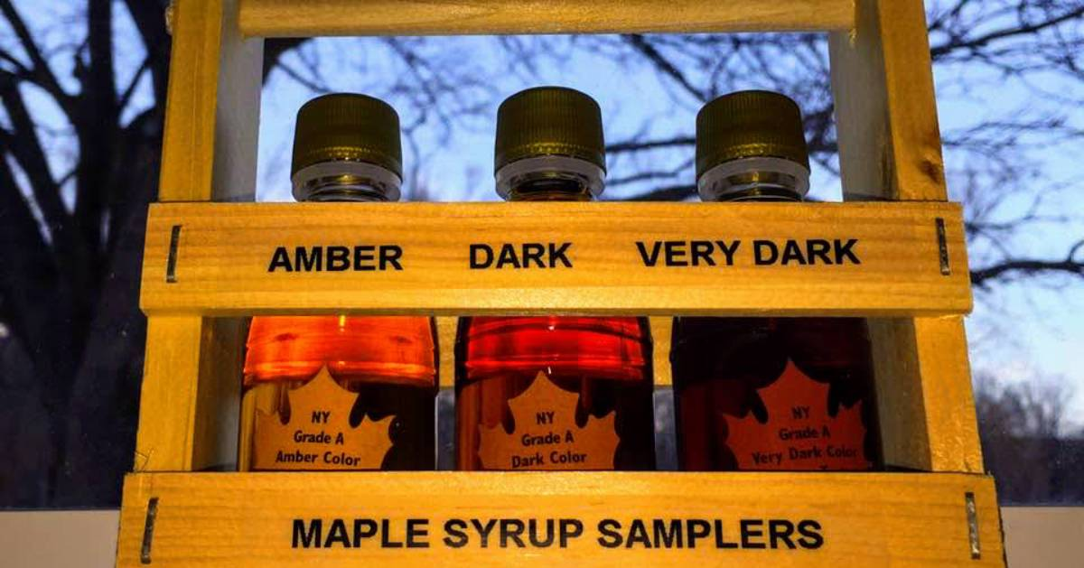maple jars in a crate labeling amber, dark, and very dark