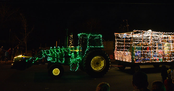 tractor with holiday lights