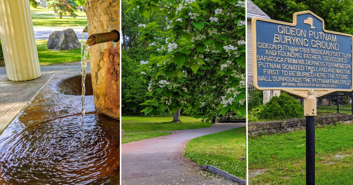 image split in three of mineral spring, path in park, and historical landmarker
