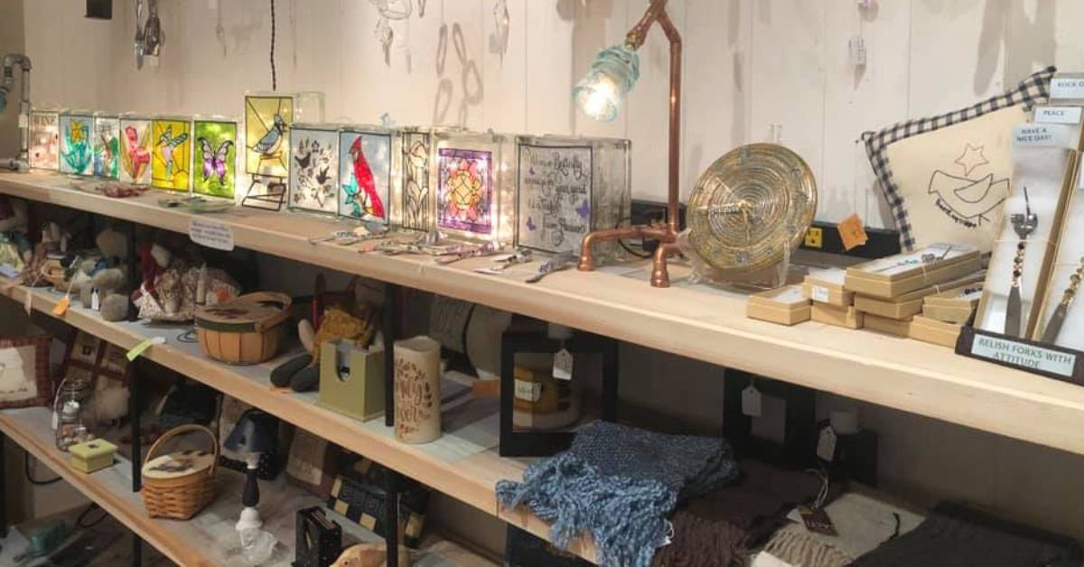 glass light fixtures, baskets, and more products on shelves