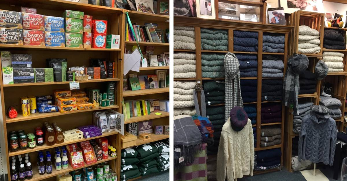 food products and books, and clothing on shelves in a store