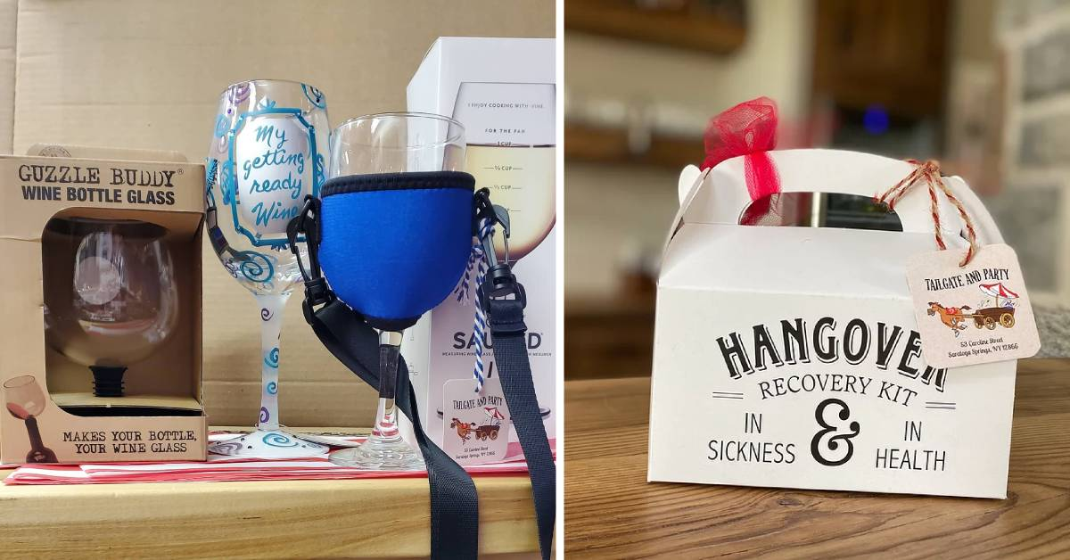 a wine glass attachment and a hangover recovery kit
