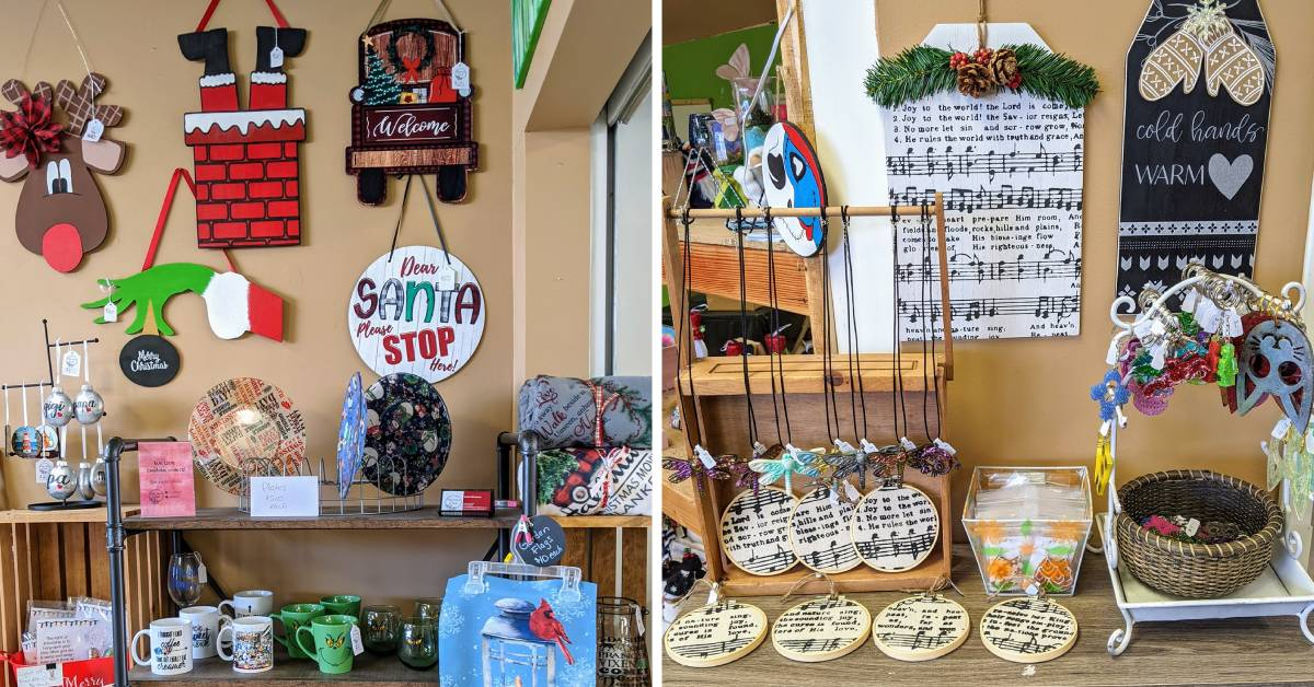 plates, holiday decor, mugs, and other items on display in a store