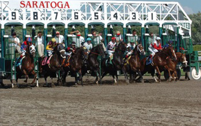 horses lined up at the gate just taking off