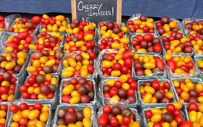 multiple baskets of colorful cherry tomatoes on display