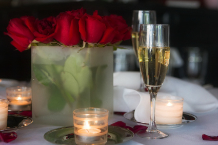 roses, candles, and champagne