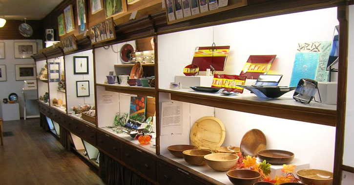 shelves of art items on display